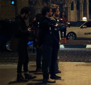 Camera crew creating a 3 screen panorama
